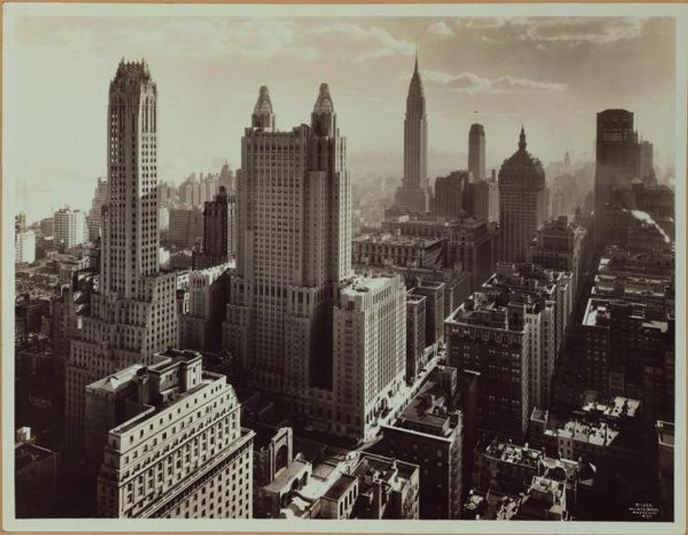 Waldorf-Astoria Hotel, Midtown, tower, New York shadow, Wurtz Brothers, NYPL