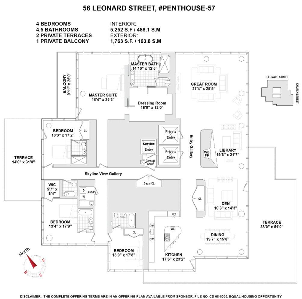 56 Leonard Street #PH57 floor plan