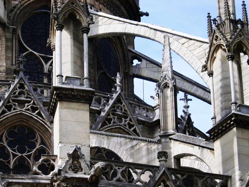 Flying Buttresses On The Notre Dame