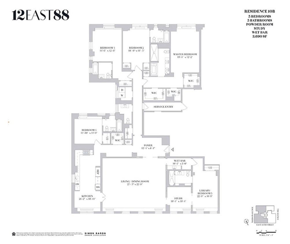 12 East 88th Street #10B floor plan