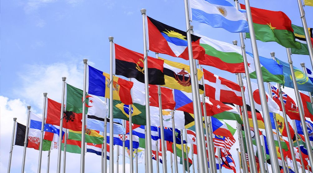 foreign flags flying