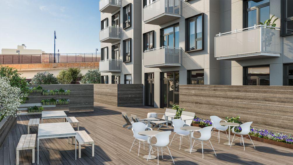 Edge Adams Lofts, Bijou Properties, 1405 Adams Street, Hoboken, New Jersey, rental, Marchetto Higgins Architects, MHS Architects, rooftop, terrace