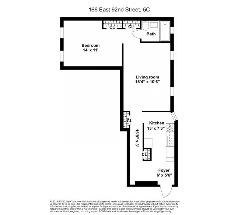 166 East 92nd Street #5C floor plan
