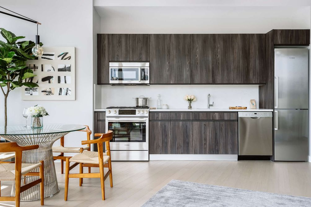 A model unit with an open kitchen at 363 Bond Street