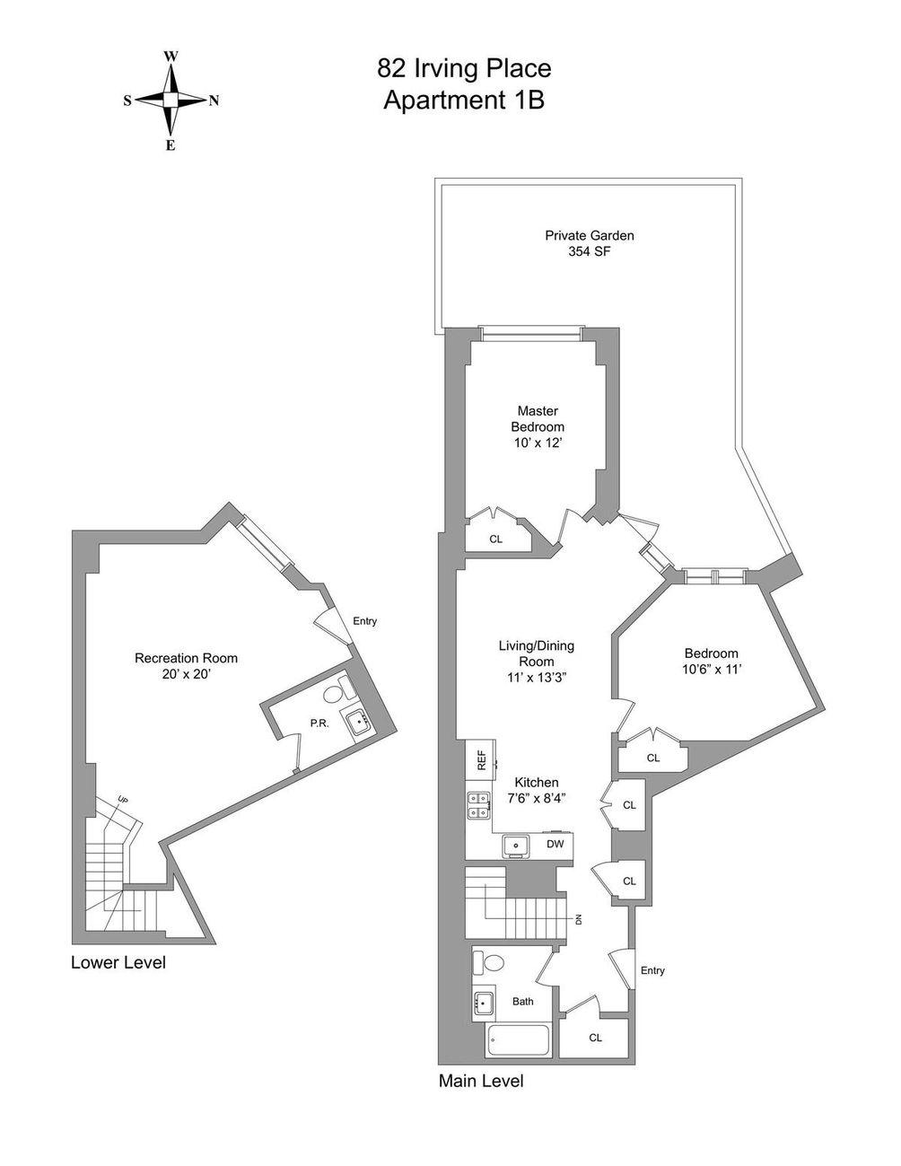82 Irving Place #1B floor plan