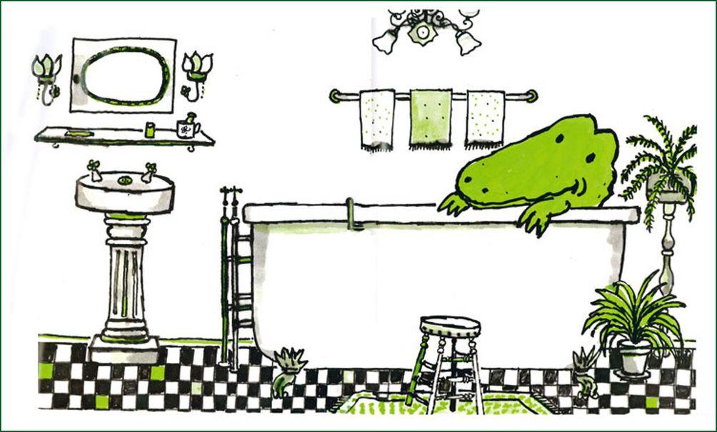Lyle Crocodile, Lyle Crocodile in tub, Lyle Crocodile illustration
