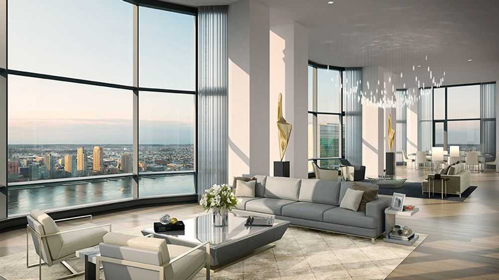 Living Area With Floor To Ceiling Bay Windows