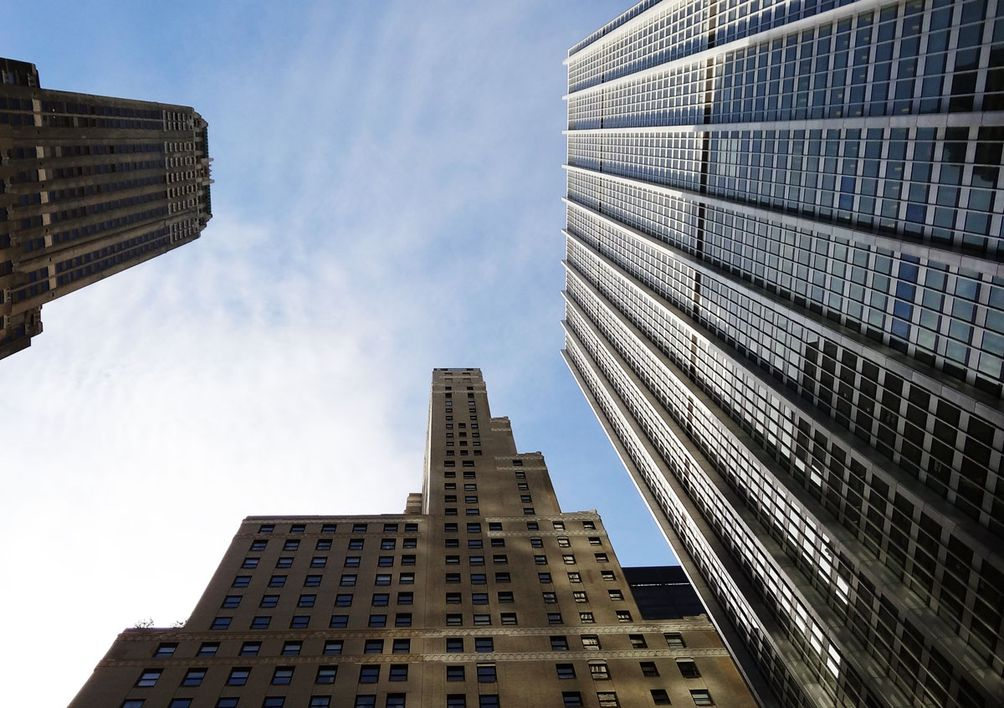 one chase manhattan plaza view from below