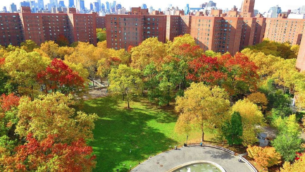 aerial view of stuytown nyc