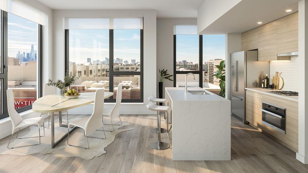 Edge Adams Lofts, Bijou Properties, 1405 Adams Street, Hoboken, New Jersey, rental, Marchetto Higgins Architects, MHS Architects, kitchen, skyline