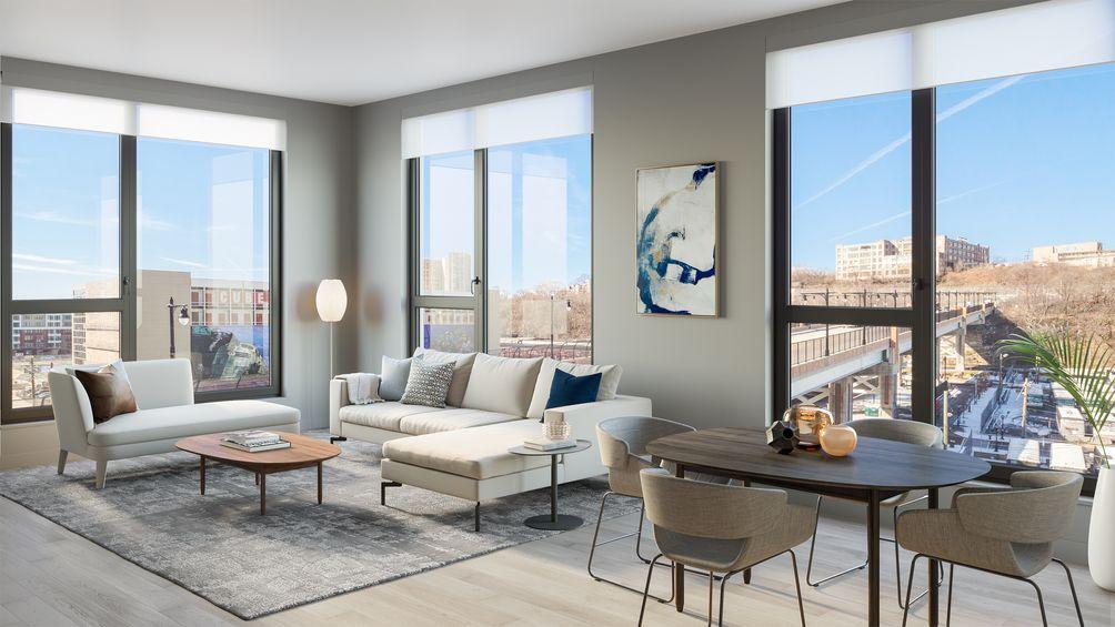 Edge Adams Lofts, Bijou Properties, 1405 Adams Street, Hoboken, New Jersey, rental, Marchetto Higgins Architects, MHS Architects, living room, Palisades