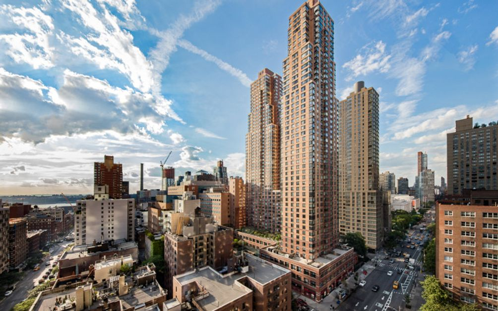 Aerial view of One Columbus Place in Midtown West