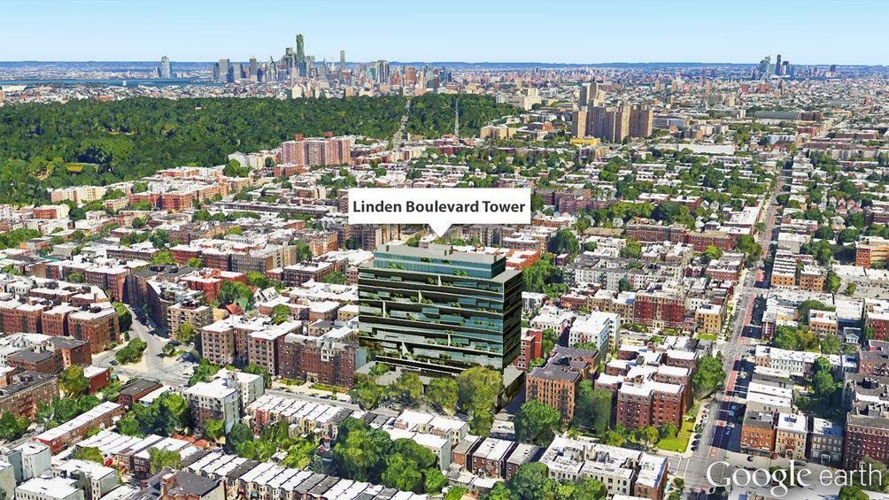 123 Linden Boulevard, Linden Boulevard Tower, Aerial View Flatbush, Flatbush Google earth, new brooklyn rentals