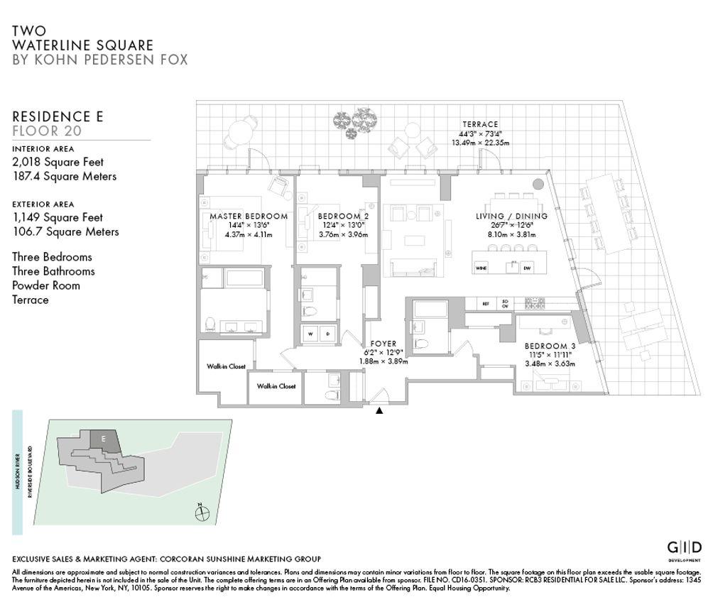 400 West 61st Street #20E floor plan