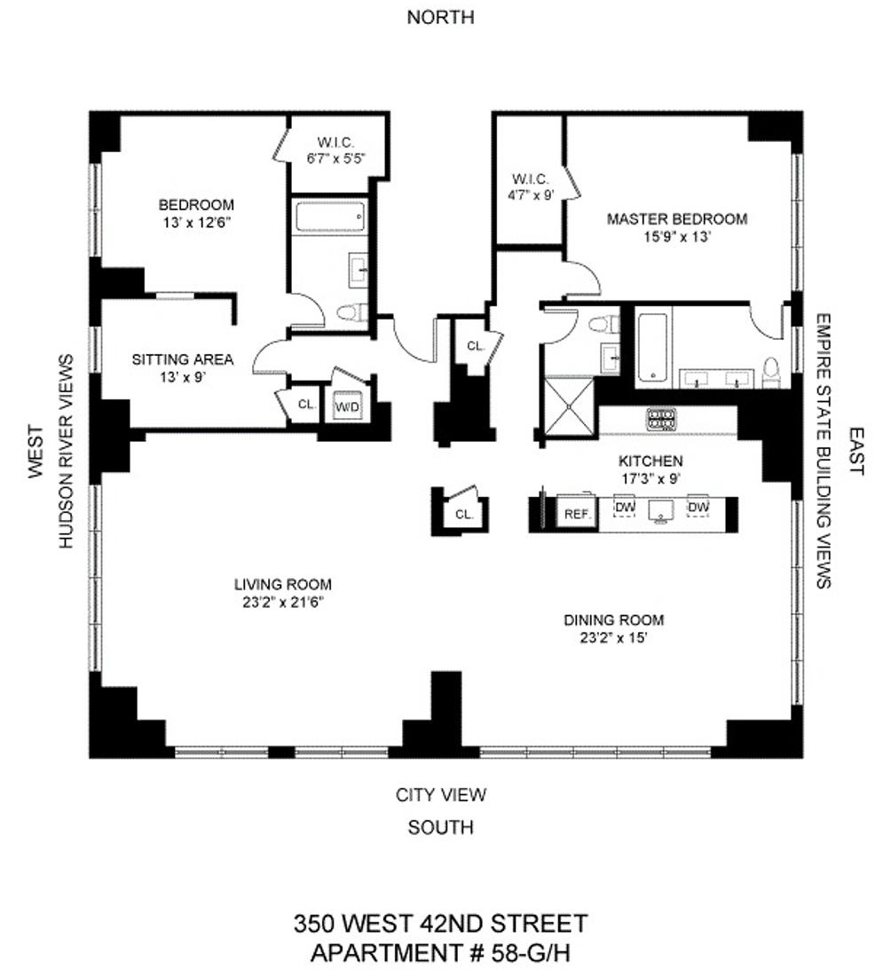 350 West 42nd Street #58GH floor plan