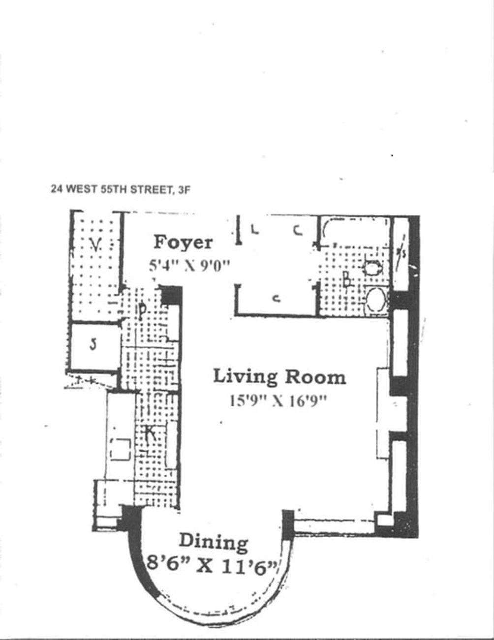 24 West 55th Street #3F floor plan