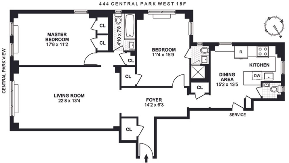 444 Central Park West #15F floor plan