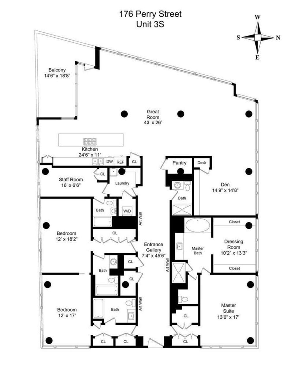 176 Perry Street #3S floor plan