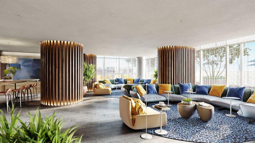 Lounge, 235 Grand Street, Hudson Projects, Jersey City, New Jersey, Ironstate Development Company, KRE Group, HLW Architects, Bentel & Bentel, rental