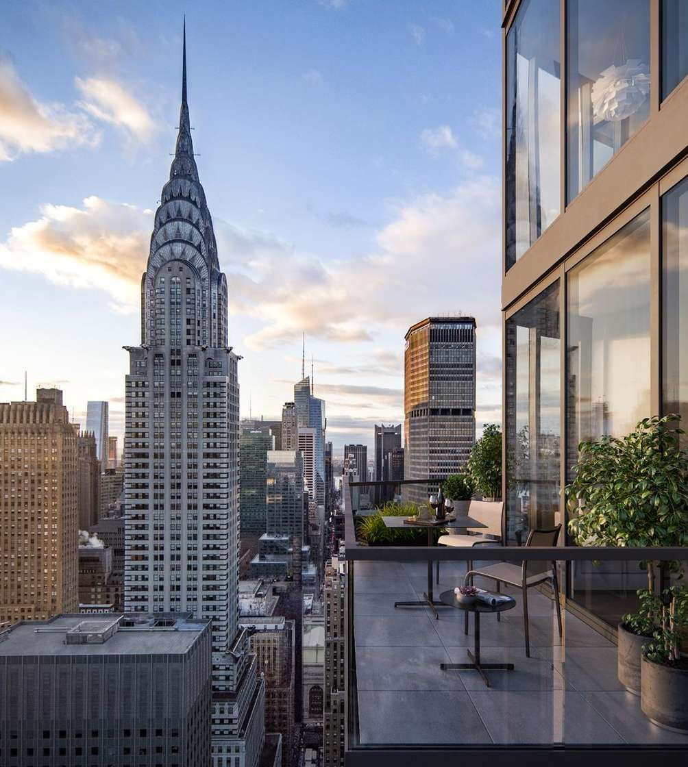 Private terrace at Summit, 222 East 44th Street