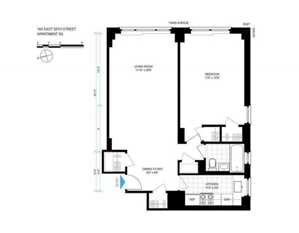 166 East 35th Street #5G floor plan