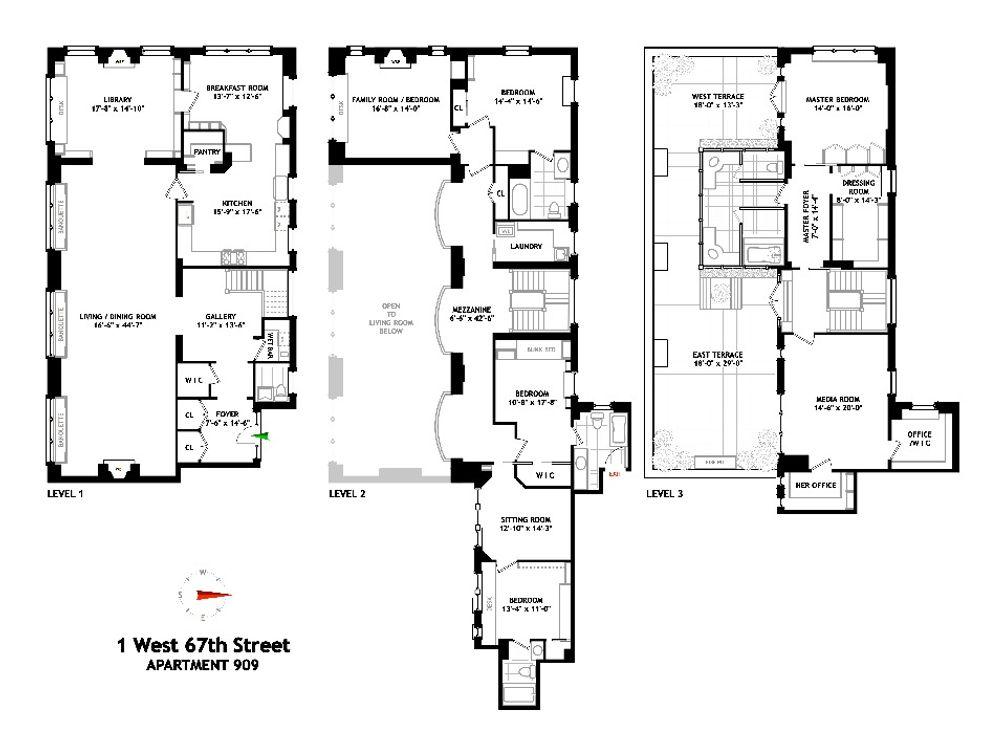 1 West 67th Street #909 floor plan