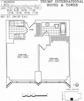 1 Central Park West #1218 floor plan