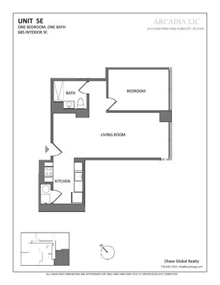 24-12 42nd Road one-bedroom floor plan