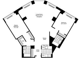 400 Chambers Street two-bedroom floor plan