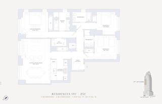 200 East 95th Street three-bedroom floor plan