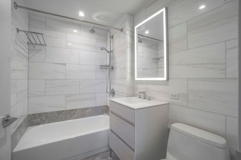 Marble bath at One Columbus Place in Manhattan