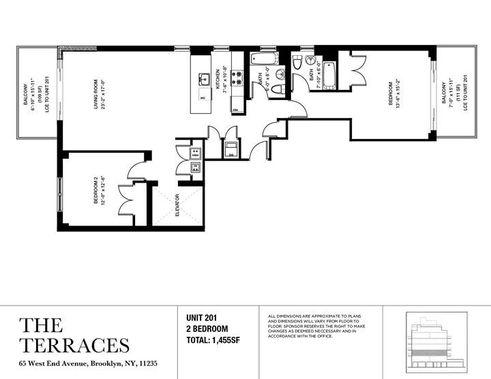 65 West End Avenue two-bedroom floor plan