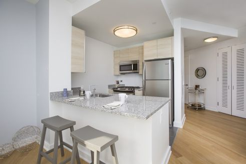 Model kitchen at Hayden Apartments in Long Island City
