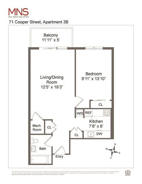 71 Cooper Street #3B floor plan