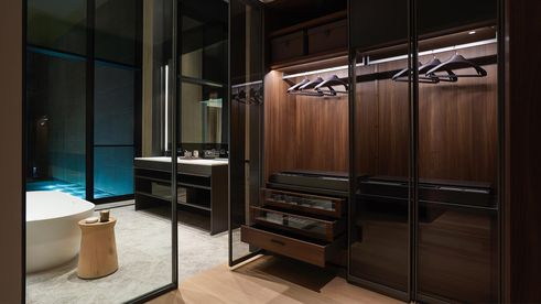 master bath, soori high line interiors, walk-in closet, chelsea condos, SCDA Architects