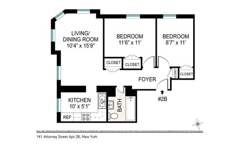 141 Attorney Street #2B floor plan
