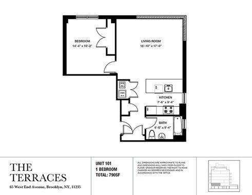 65 West End Avenue one-bedroom floor plan