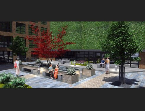 443 West 53rd Street Overhead view and courtyard