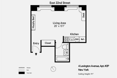 4 Lexington Avenue #2P floor plan