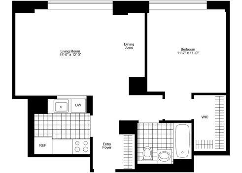 325 North End Avenue one-bedroom floor plan