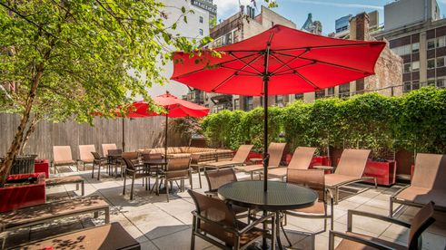 The outdoor patio at 180 Montague Street in Brooklyn
