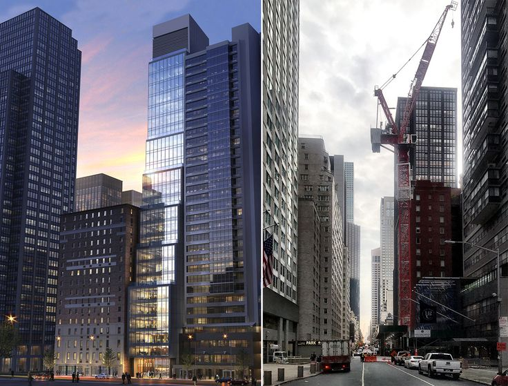 106 West 56th Street rendering (l, The Rinaldi Group) and photo (r, CityRealty)