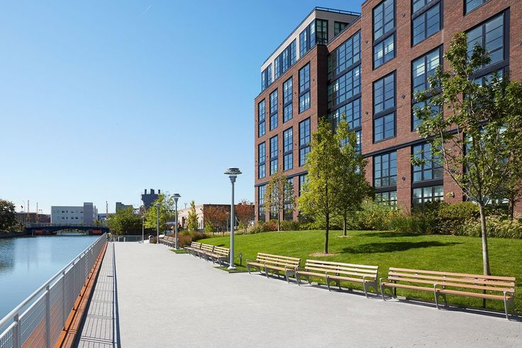 The waterfront complex at 363 and 365 Bond Street is built along a new waterfront esplanade.