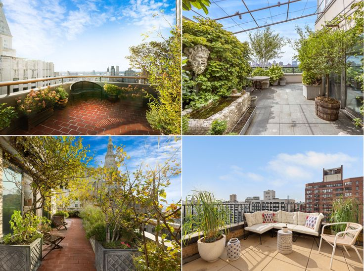 Assortment of images from available Manhattan apartments with private gardened terraces