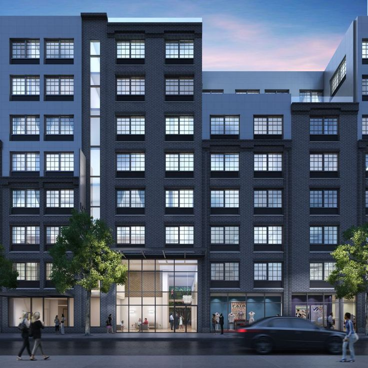 A rendering of the mixed-use building at 555 Waverly Avenue in Brooklyn designed by HTO Architect
