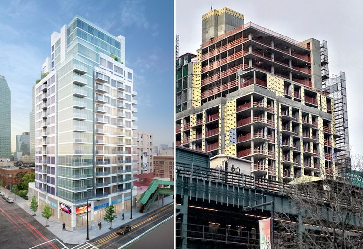 One Queens Plaza rendering (l; Raymond Chan) and construction (r; CityRealty)