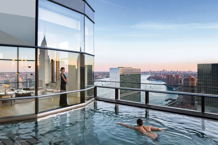 50 United Nations Plaza was completed in 2015 and has the highest outdoor swimming pool in NYC