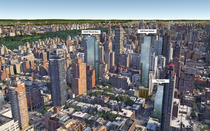 Google Earth aerial showing 249 East 62nd Street and other Real Estate Inverlad towers (CItyRealty)
