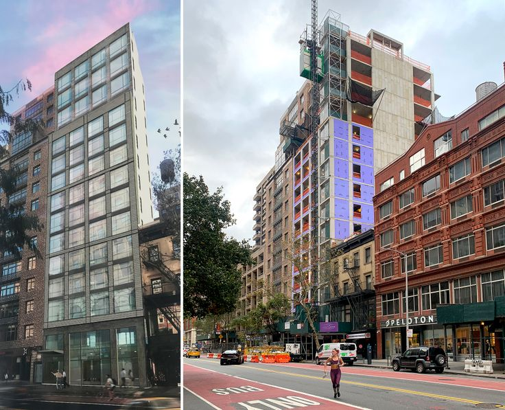 A rendering of the new condo coming together at 128 West 23rd Street and a recent progress photo showing the tower has topped out (Images: Valyrian Capital/CityRealty)