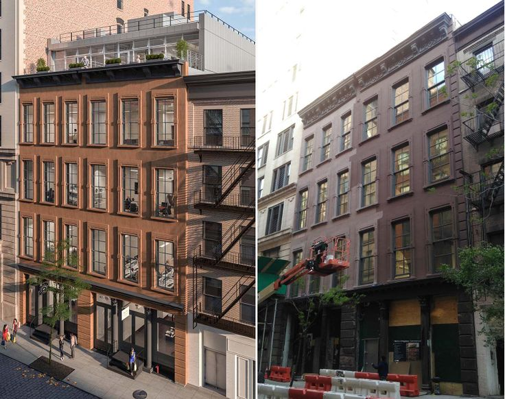 Rendering and photo of 61-63 Crosby Street via David Grider Architect